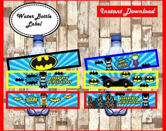 Batman Water Bottle Label, printable Superhero party Water Bottle Label, Batman baby water