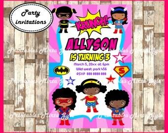 Superhero girls Invitation, printable Girl Superhero Birthday Invitation, African American Superhero girl invitation