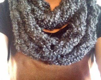 grey arm knitted infinity scarf