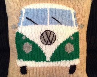 Small VW Camper Van Cushion / Campervan  Cushion / Hand knitted Cushion