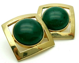 Square Medium Sized Green Stud Earrings Vintage from the 80s Gold Tone Frame