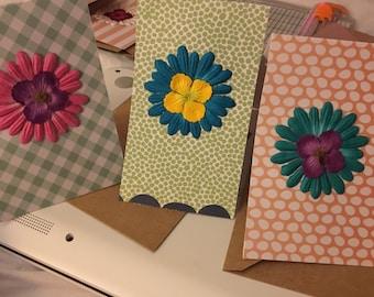 "Medium ""flowered"" card . Blank inside"