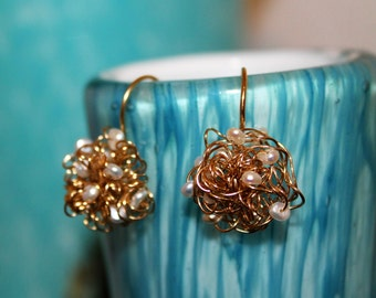 Gold field wire with pearls  earrings