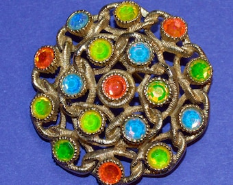 Vintage Sarah Coventry Moon Lites Brooch with Pastel Orange, Green, Blue and Yellow Iridescent Stones