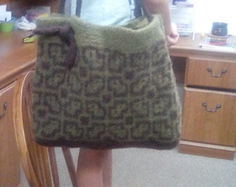 Handknit felted tote/purse 100% wool