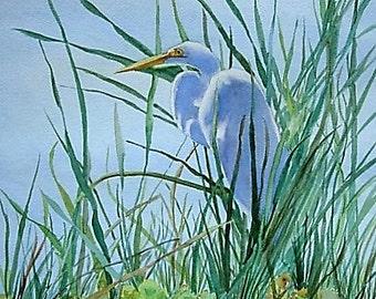 Egret Swamp Painting Etsy