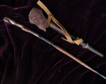 Auror's Battle Wand - hand-crafted wooden wand with custom distressed leather scabbard, Harry Potter wand, wood wand, custom wand
