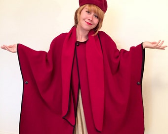 Vintage 60s Red and Black Cape Coat