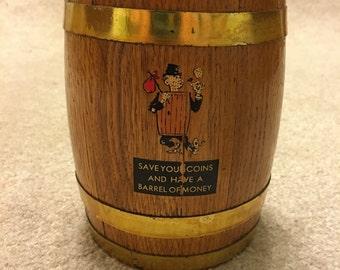 Retro barrel of money wooden coin bank