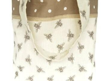Large Tote/Bees/Polka Dots/Shopping Bag