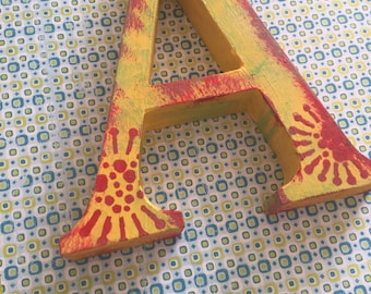 Alphabet letter A canvas kids room nursery decor