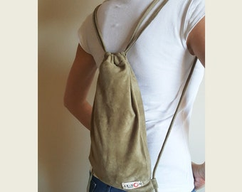 Taupe Suede Medium Backpack