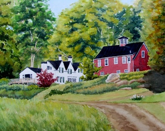 Maine painting original watercolor landscape painting house barn red green white black 11x15
