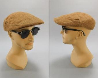 Vintage Flat Cap / Driving Cap / 1940's Newsboy Cap / Dobbs Flat Cap / 40s Flat Cap / Cabbie Cap / Dobbs Cap / 30's Flat Cap / Wool Tweed