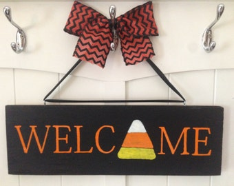 Welcome candy corn door sign