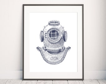 Nautical Print, Dive Helmet Print, Wall Art Print, Nautical art, Diving print, Minimalist Print, Home Print, Dive Helmet art, Nautical Print