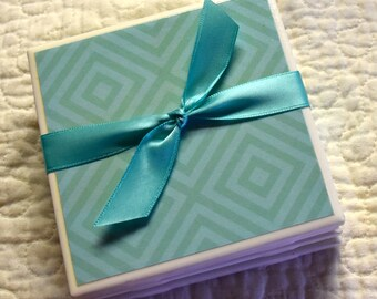 Tile Coaster Set - Blue-Green Geometric