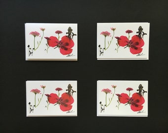 "Set of 4 Cards- ""Pink Delight"" Card Prints"