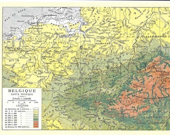 Old Belgium map (1924) - original vintage of the Belgium in color dating back to 1924 map (21cm x 29, 7cm)-sold box