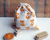 Fox small size canvas drawstring bag