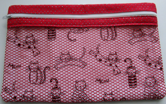 Peek Inside Zippered Bag, Makeup Bag, Travel Bag, Handmade Bag, Cat Bag