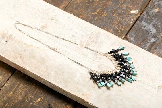 Silver ethnic necklace - Pierre de Lave - Haematite - Turquoise