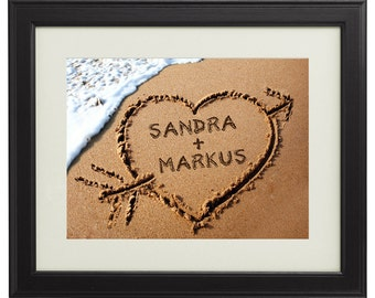 Heart in the Sand – Romantic Framed Picture