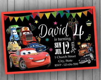 Cars Invitation, PERSONALIZED Lightning McQueen, Tow Mater, Birthday Invitation Digital Printable Baby Shower Invitation Disney Pixar
