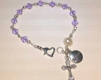 Catholic Rosary Bracelet with Swarovski Crystals and Freshwater Pearl