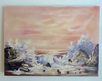 Vintage Original Ocean Oil Painting 17.5x24