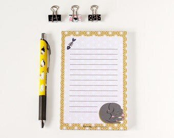 Cat Notepad - To Do List, Shopping List, Planner - Grey cat, yellow, cute stationary