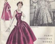 1955 Vintage VOGUE Sewing Pattern B34 DRESS & COAT (1429) Jeanne Lanvin-Castillo Vogue 1310