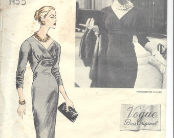 1955 Vintage VOGUE Sewing Pattern DRESS B34 (1475) By 'Patou' Vogue 1320