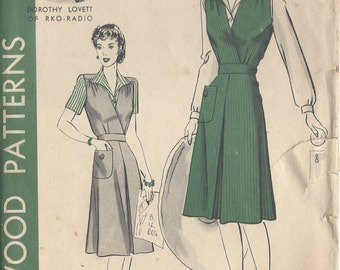"1942 Vintage Sewing Pattern B30"" Dress & Blouse  (51) HOLLYWOOD PATTERN 905"