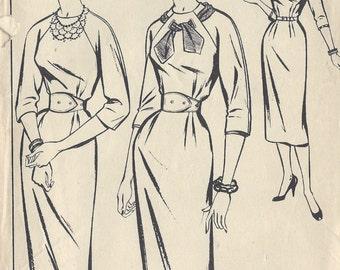 1950s Vintage Sewing Pattern B38 DRESS (1079) Style 977