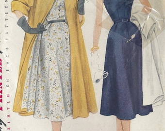 "1951 Vintage Sewing Pattern B34"" DRESS & COAT (R66)  Simplicity 8447"