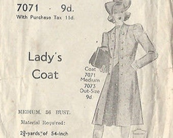 "1940s Vintage Sewing Pattern COAT B36""-S12 (4) Blackmore 7071"