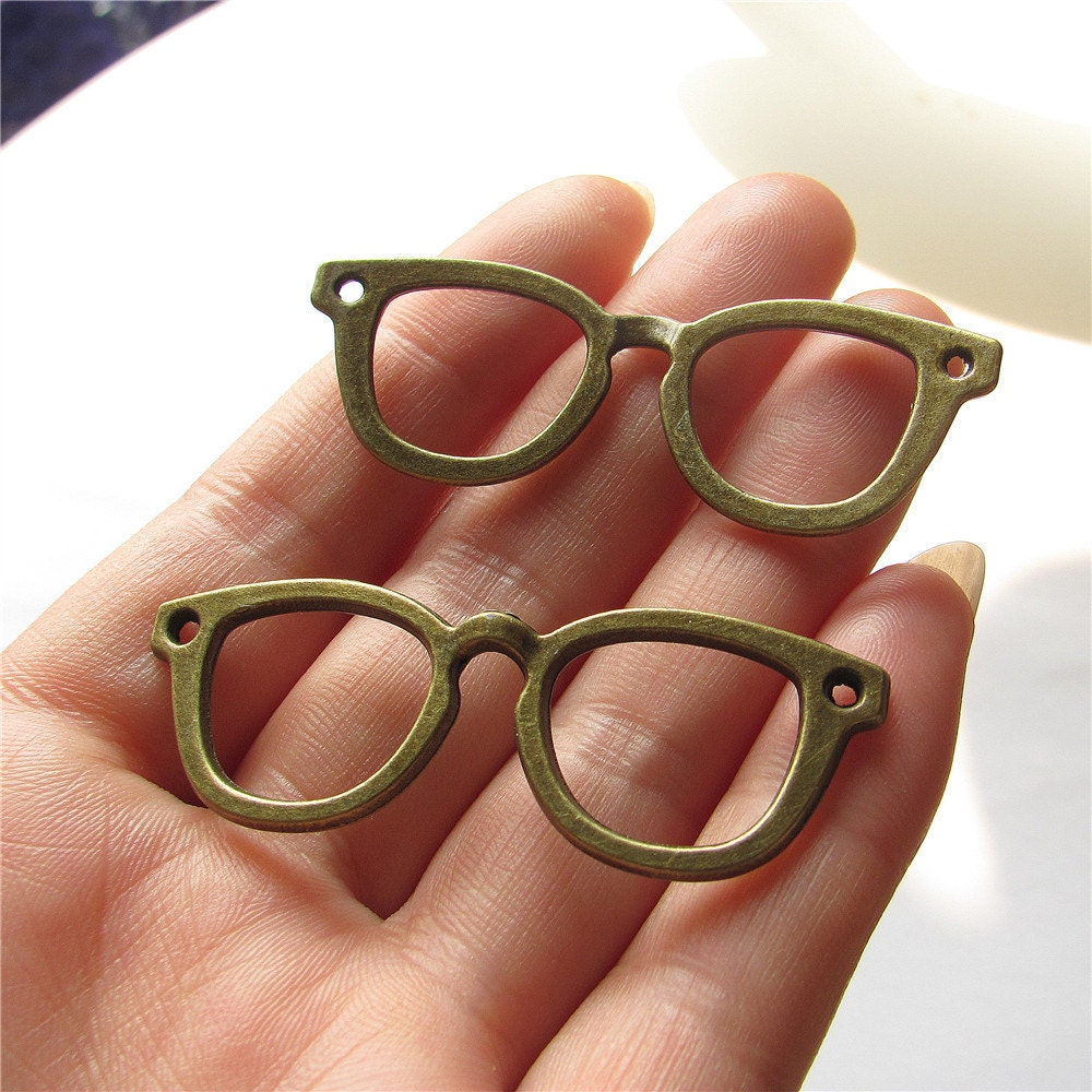 Glasses Frame Charm Link Antique Brass Connector Handmade