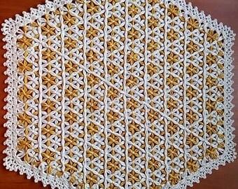 Napkin Gold - Silver, napkin openwork, doily,  table-napkin