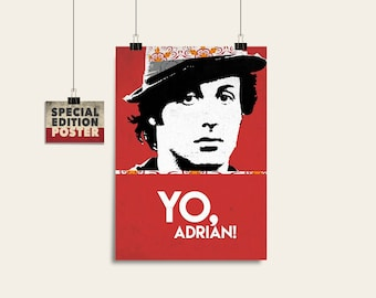 Yo Adrian, Rocky, Minimalist poster, Digital download, Movie poster, Wall decor, Printable art, Instant download, Film art, Film poster