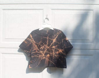 Cropped Splatter Bleach Shirt