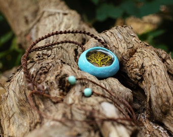 Original Nekclace, Unusual Nekclace, Handmade Nekclace, Gift for women, Tree Nekclace, Resin Nekclace, Round Nekclace, Blue Broun Nekclace
