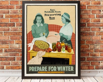 Retro poster poster vintage of fall colored representing two women who make cans in a kitchen by the artist Drea