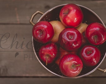 Bowl full of Red Apples Rustic Stock Photograph