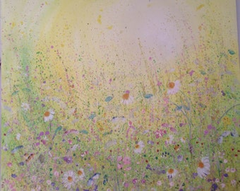 Misty Meadow, flowers with sunshine huge canvas