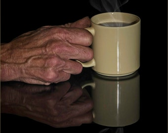 Hand, Coffee, Coffee Cup, Cup, Fingers, Mug, Steam, Reflection, Black, Cream