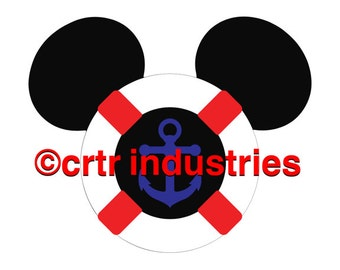 99c SALE! Mickey Mouse Life Preserver / Iron on Image