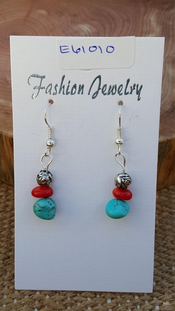 Turquoise Coral Earrings / Turquoise Stone / Coral Stone / Semi Precious Stones / Dangle Earrings / Hippie Earrings / Boho Jewelry /E61010