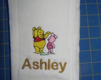 Baby Winnie the Pooh with Baby Piglet embroidered burp cloth Personalized