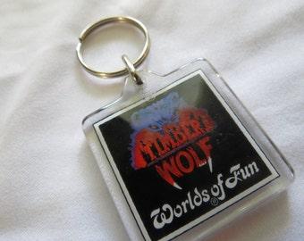 Kansas City Worlds of Fun Vintage Souvenir Timber Wolf Wooden Roller Coaster Key Chain